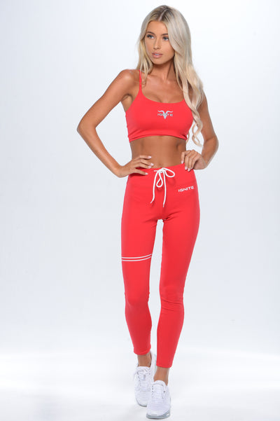 Drawstring Leggings  - Red