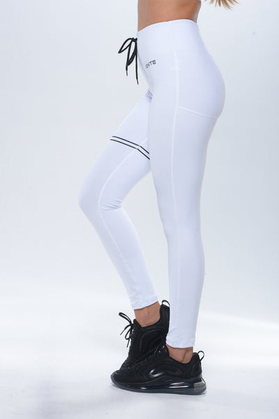 Drawstring Leggings  - White