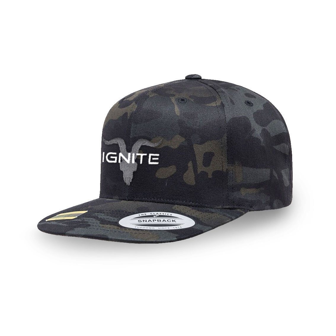 Dark Camo Flat Bill Snapback with Grey Logo