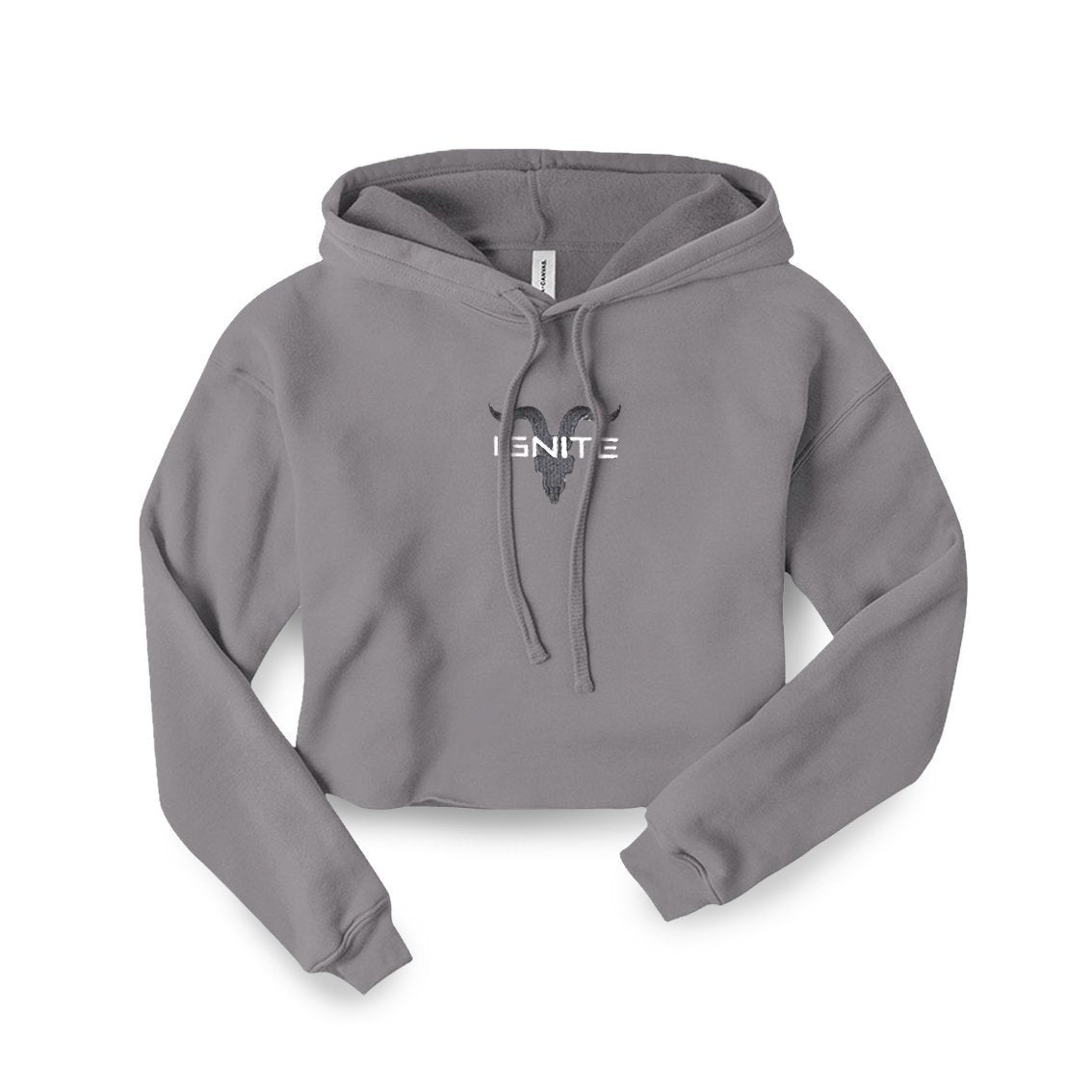Ignite Premium Collection Ladies Light Heather Grey Cropped Hoodie - ignite-merch