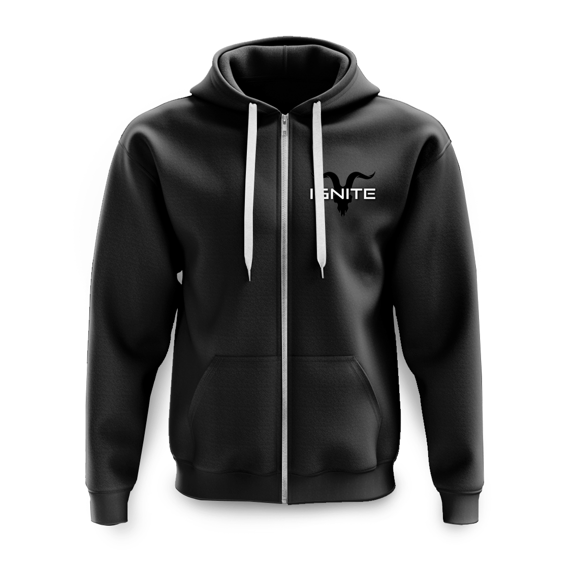 Unisex Black Zip Up Logo Fleece Hoodie