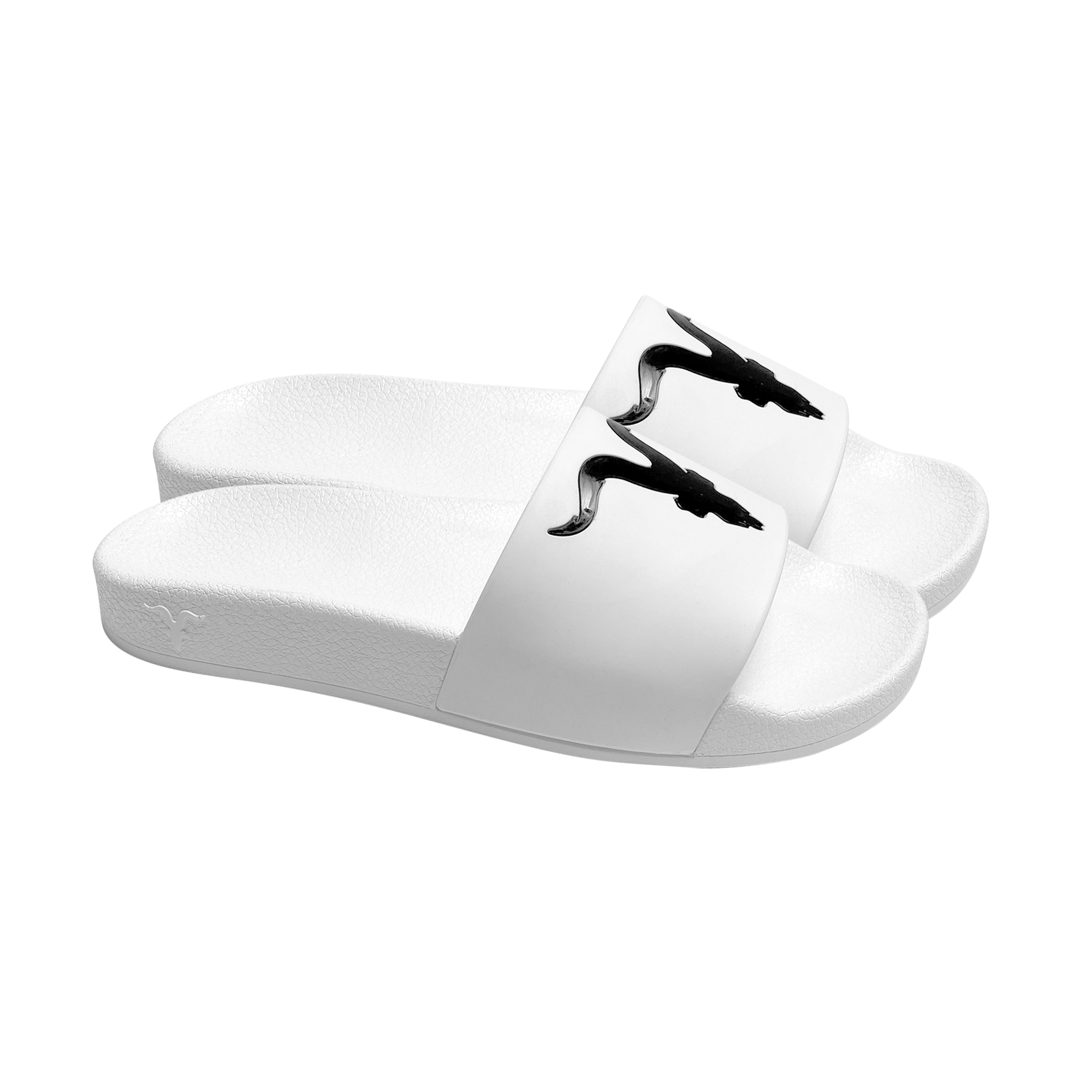 Mens Slides - Black Logo on White