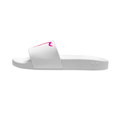 Womens Slides - Pink Logo on White