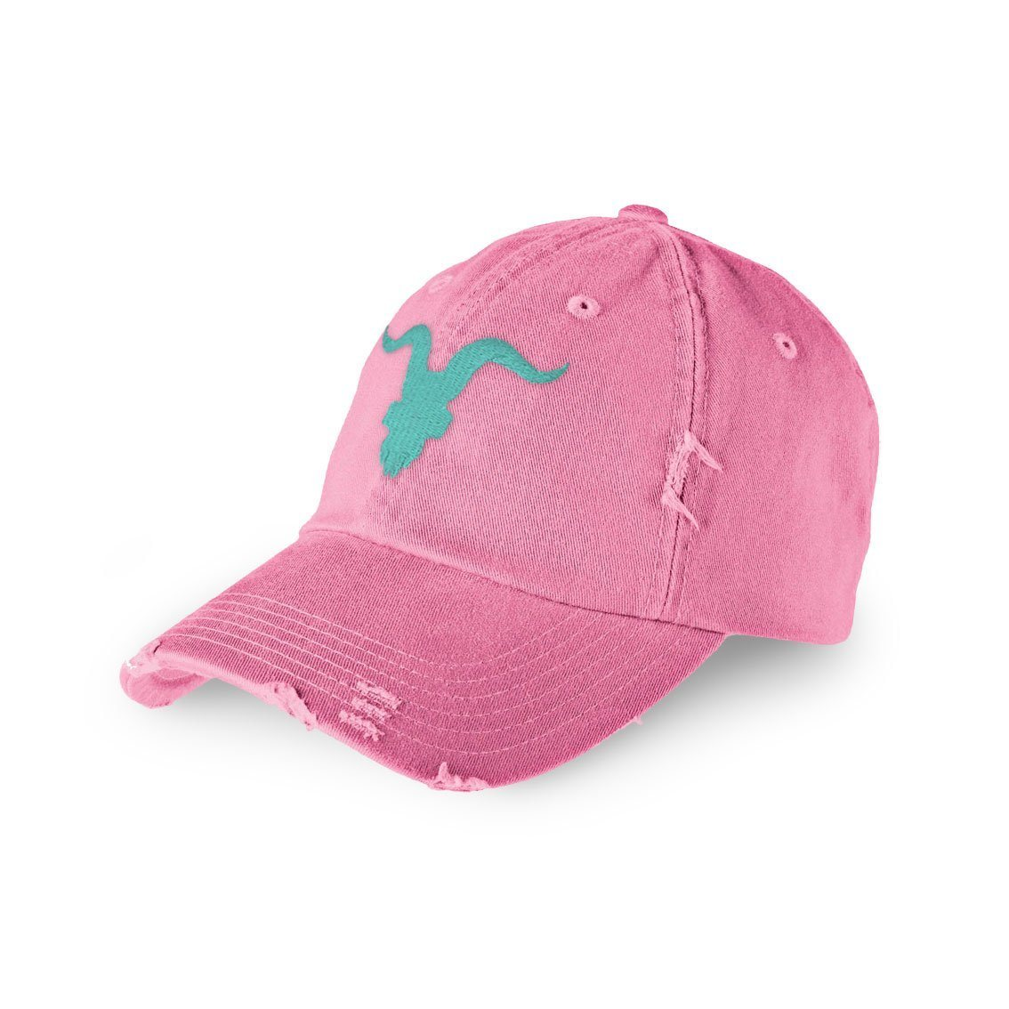 Distressed Dad Hat - Pink with Aqua Logo