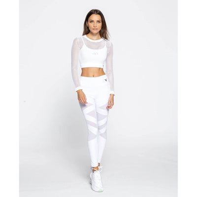 Long Sleeve Fishnet Crop Top - White