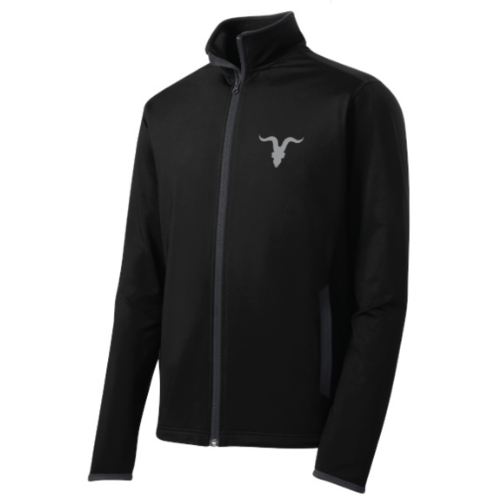 Mock Zip Up with Goat Skull Logo - Black