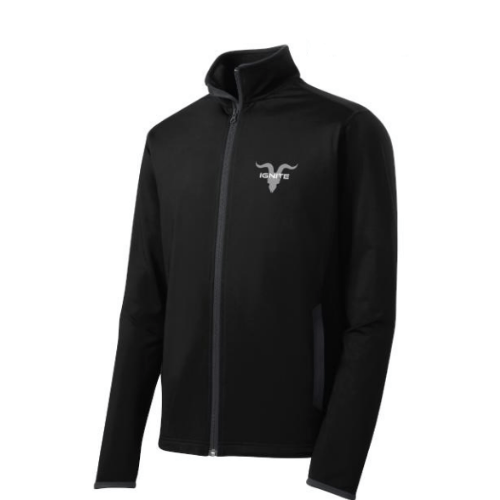 Mock Zip Up with Ignite Logo - Black
