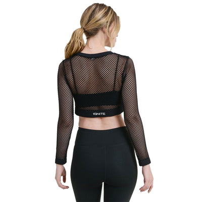 Long Sleeve Fishnet Crop Top - Black
