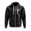Unisex Black Zip Up With Grey Logo Fleece Hoodie