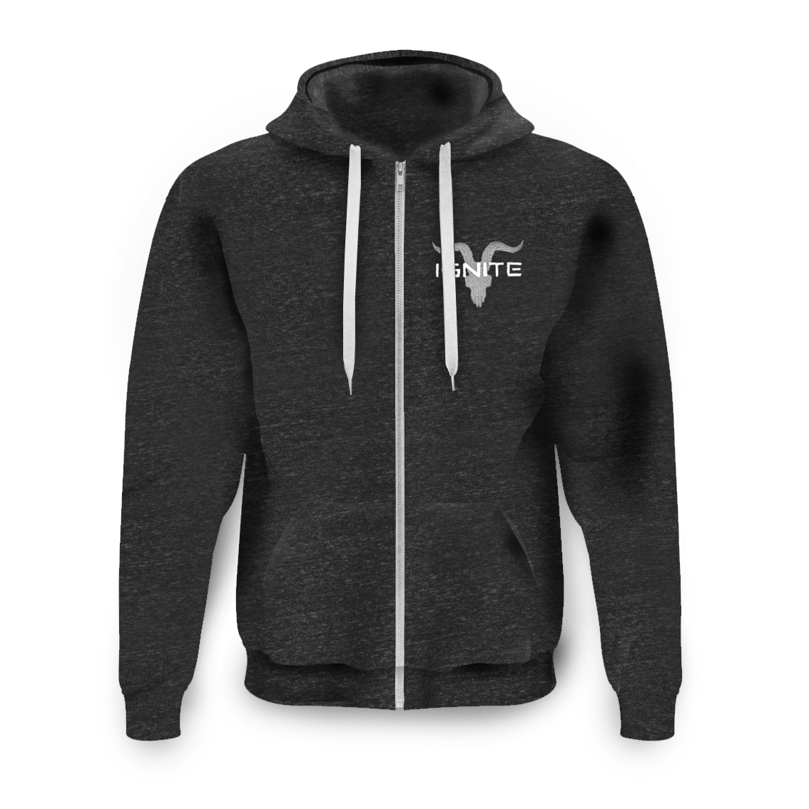 Unisex Athletic Grey Zip Up with Grey Logo Fleece Hoodie