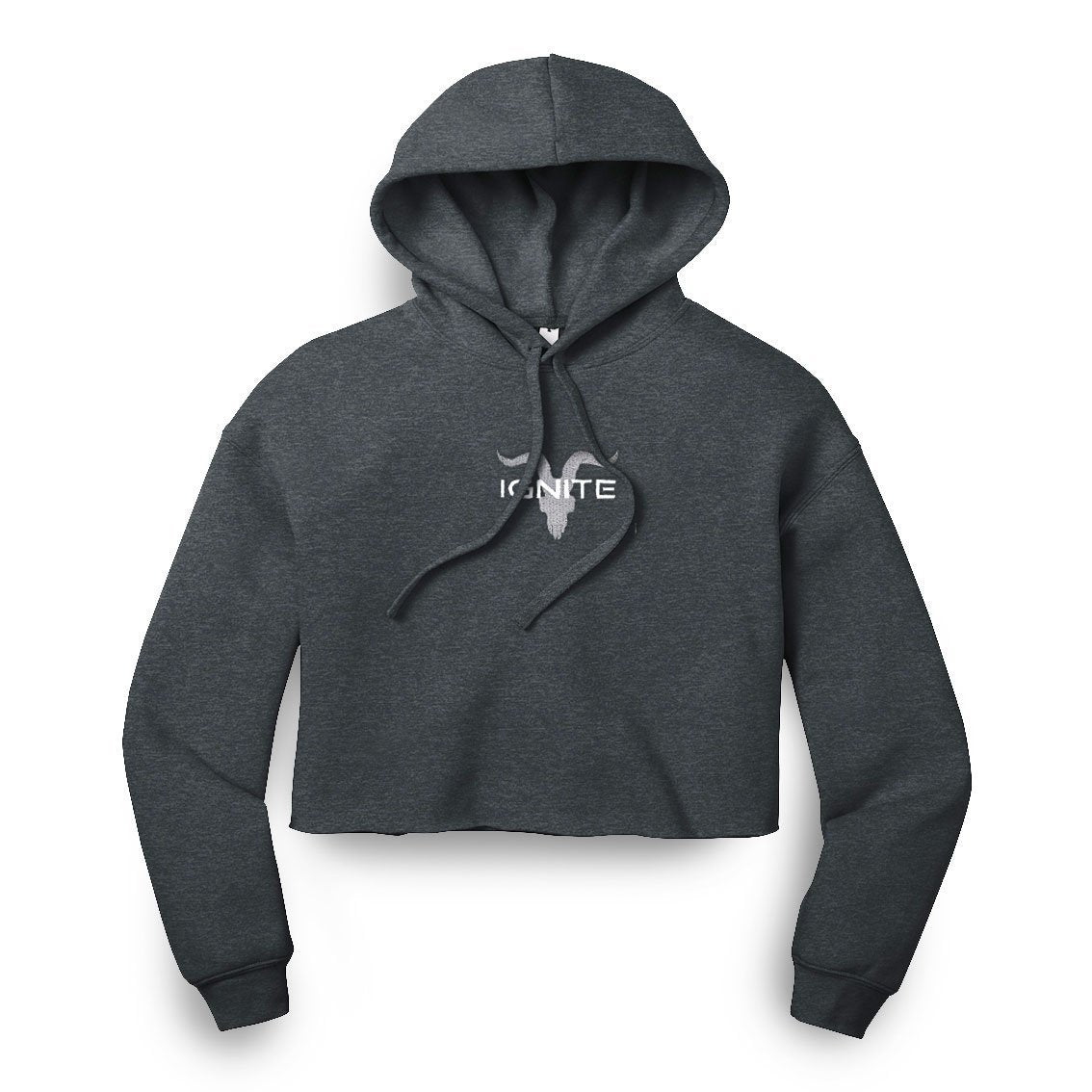 Ladies Dark Heather Grey Cropped Hoodie