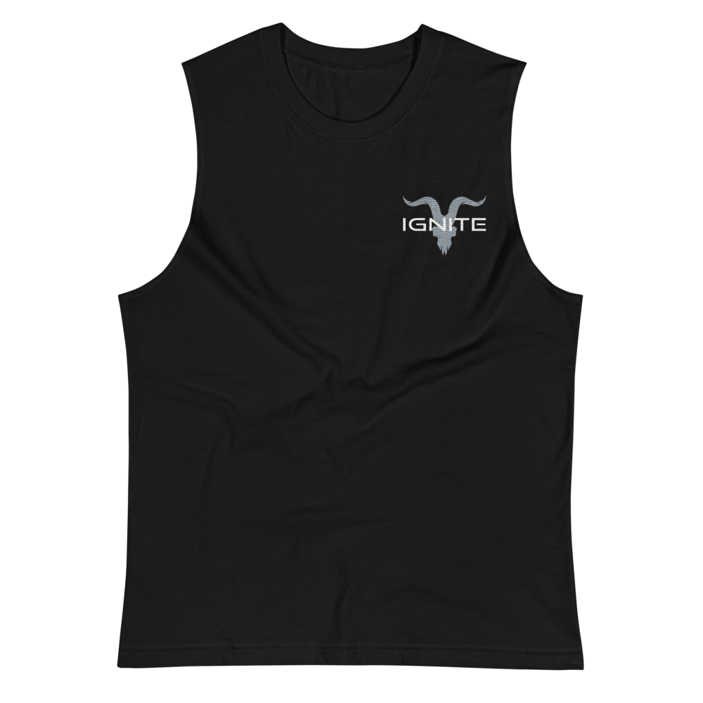 Black Muscle Shirt With Grey Logo