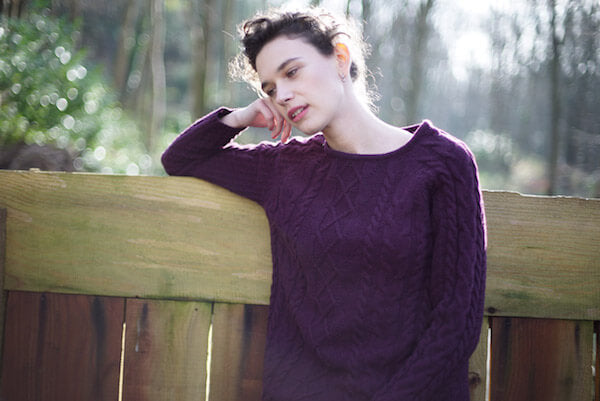 plum coloured cable knit jumper