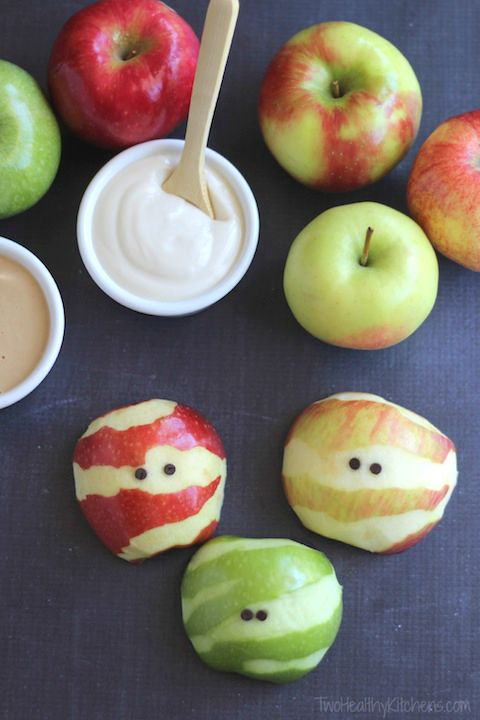 apple mummies. Healthy treats for Hallowen
