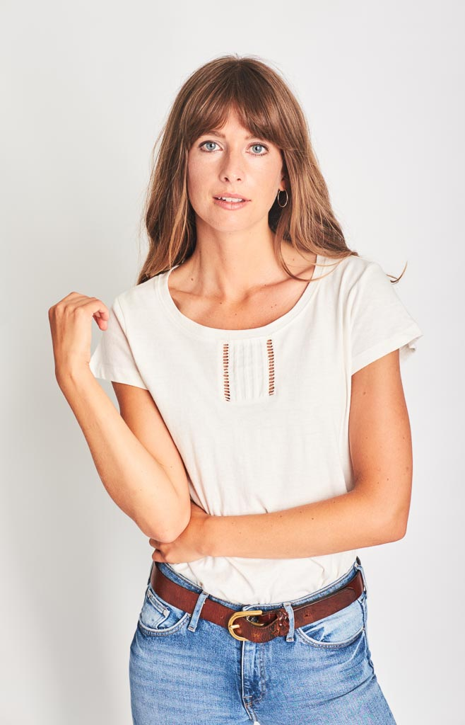 white linen organic cotton t-shirt