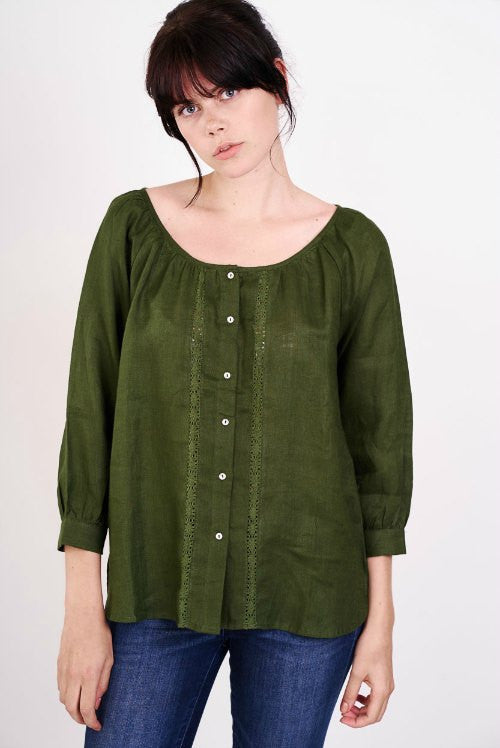 linen scoop neck blouse