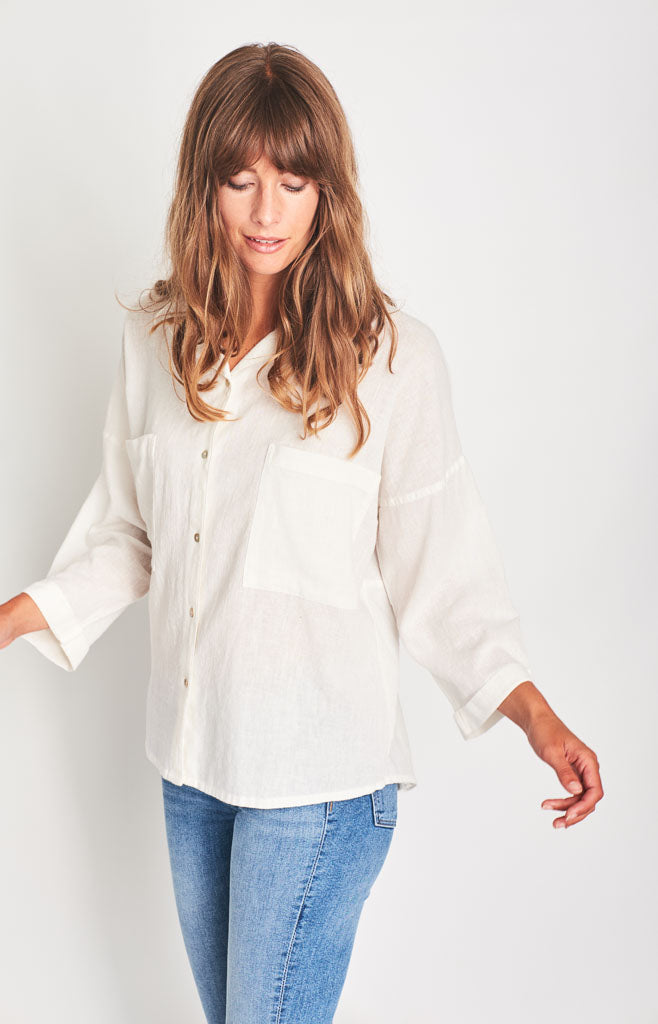 white oversized linen shirt