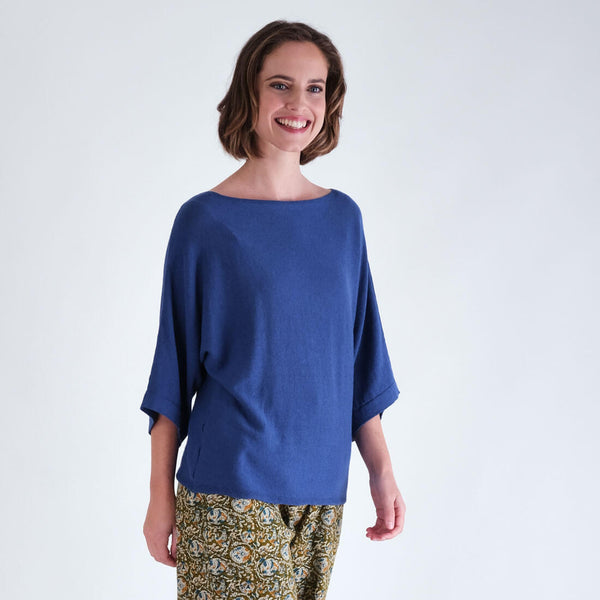 Kira Blue Linen Jumper