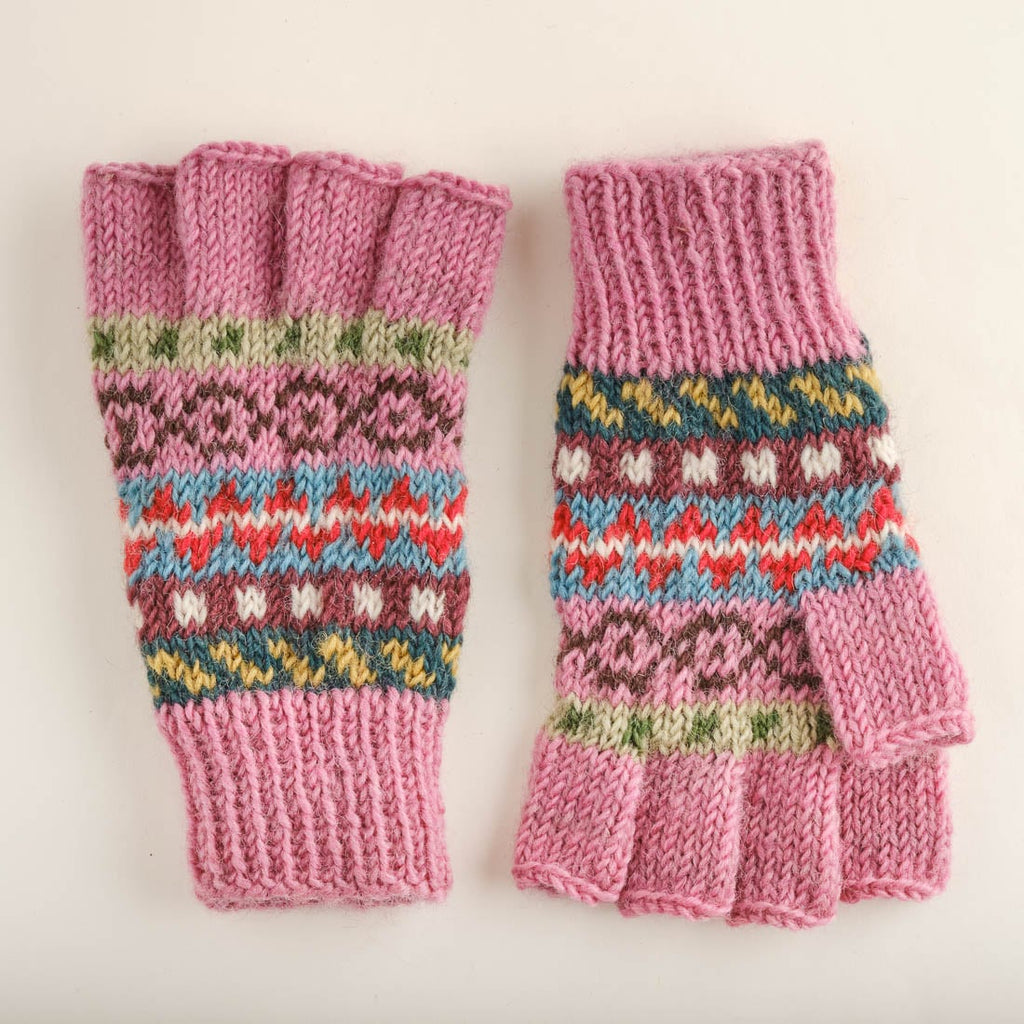 Fair Isle Finglerless Knitted Gloves