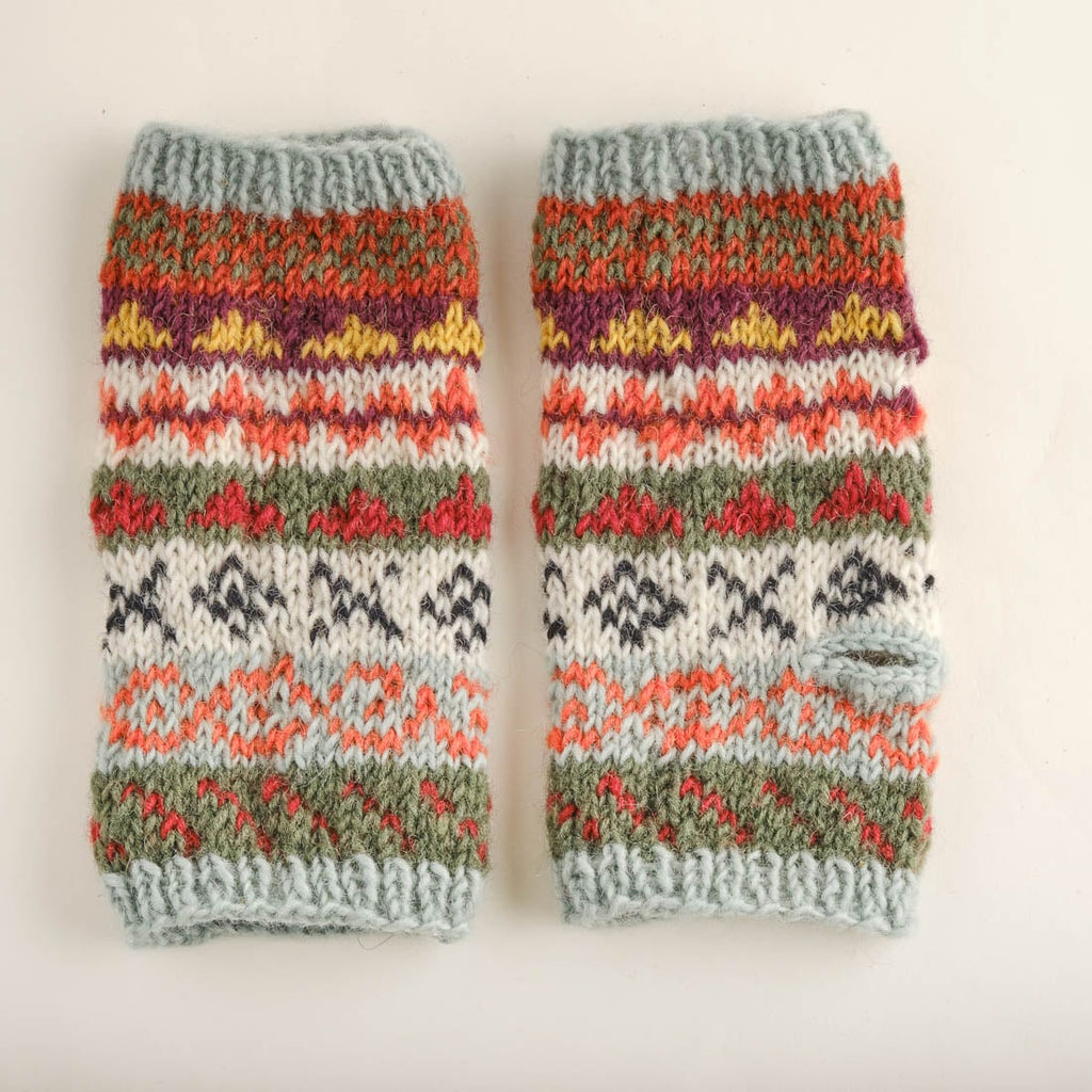 Fair Isle Finglerless Knitted Mittens