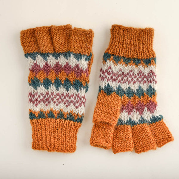 Fair Isle Finglerless Wool Gloves