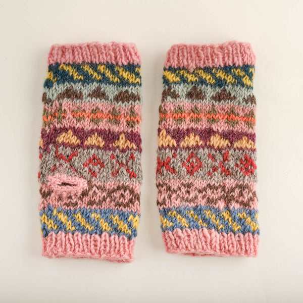 Fair Isle Finglerless Wool Mittens