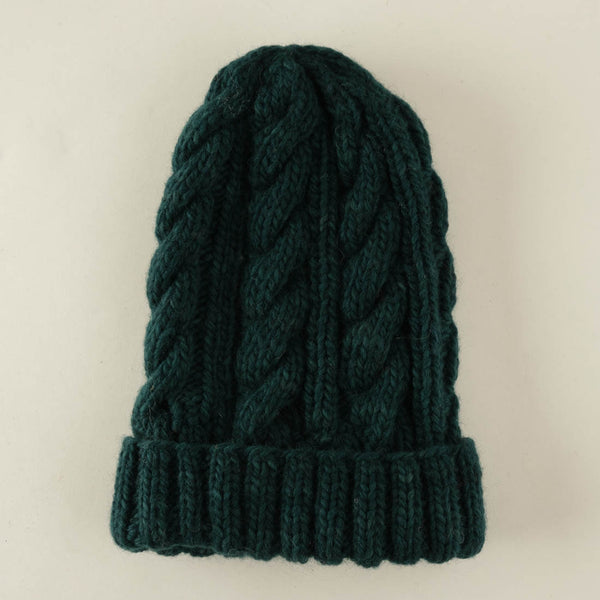 Frida Wool Knitted Beanie - Emerald Colour
