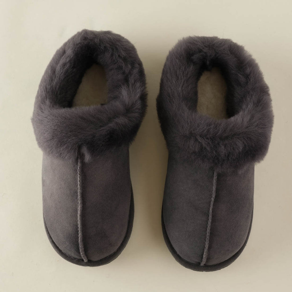 grey sheepskin wool slippers