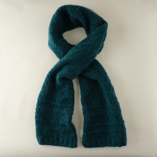 Ida Hand Knitted Mohair Scarf - Emerald Colour