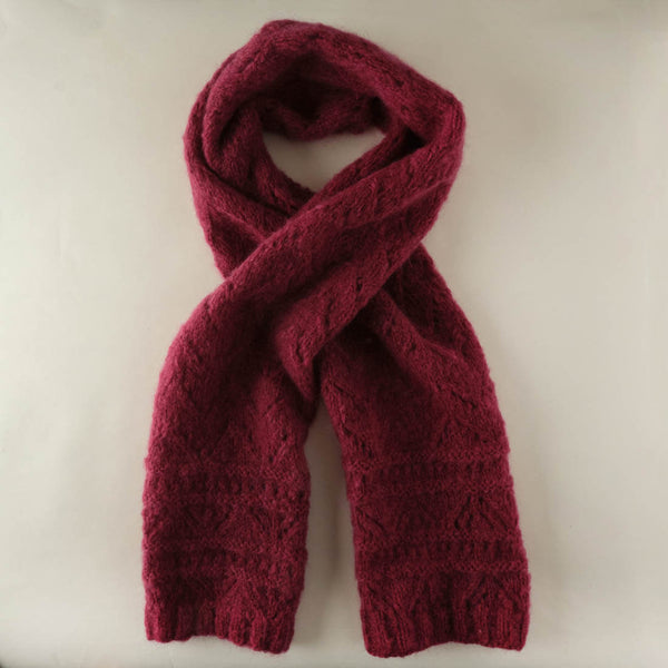 Ida Knitted Mohair Scarf - Berry coloured