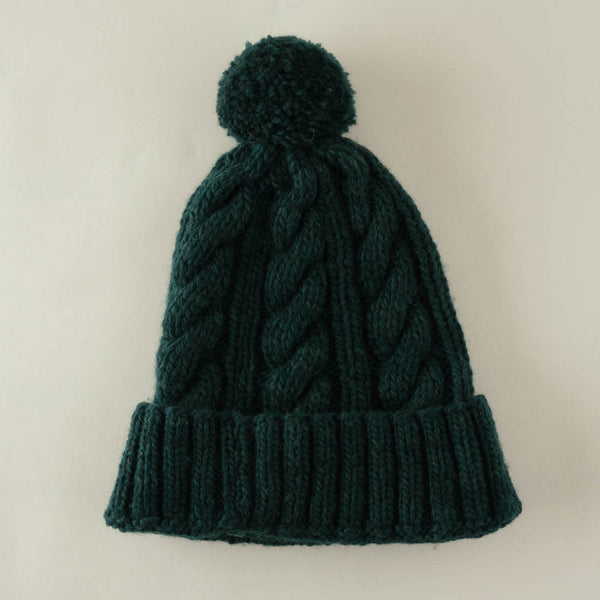 Inga Knitted Wool Bobble Hat - emerald colour
