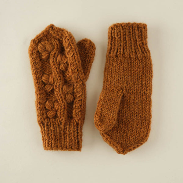 Klara Chunky Knit Wool Mittens - Mustard colour