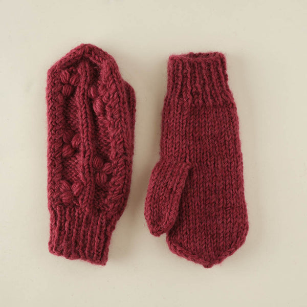Klara Hand Knitted Wool Mittens - plum colour