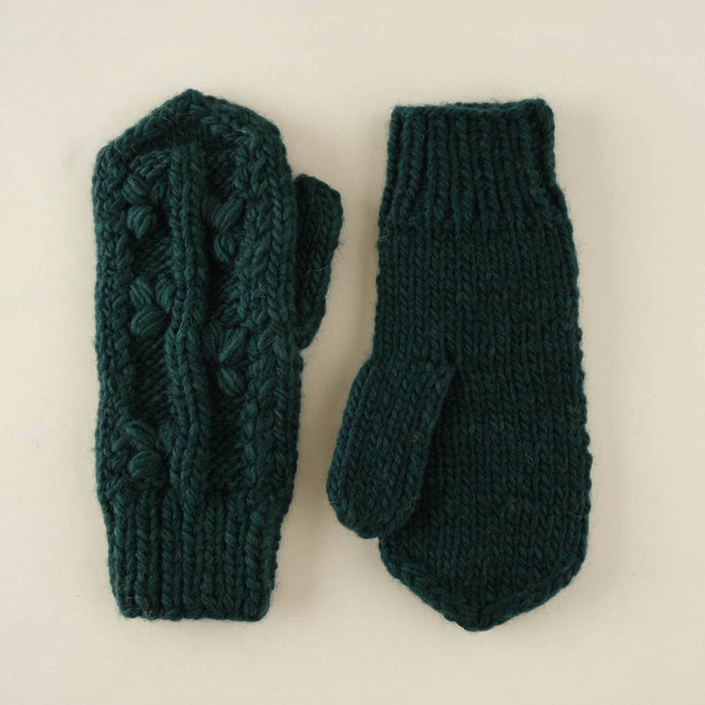 Klara Knitted Wool Mittens - emerald colour
