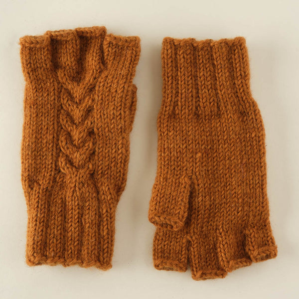 Lena Finglerless Wool Gloves - Mustard coloured