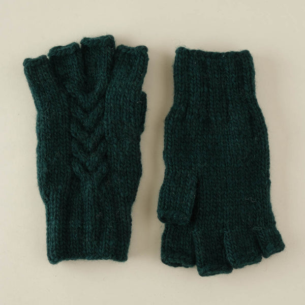 Lena Pure Wool Finglerless Gloves - Emerald Colour