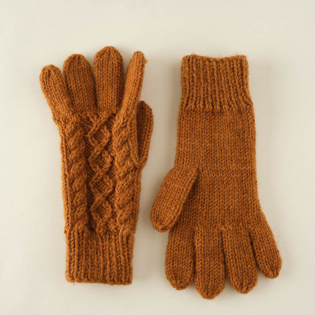 mustard coloured hand knitted wool gloves