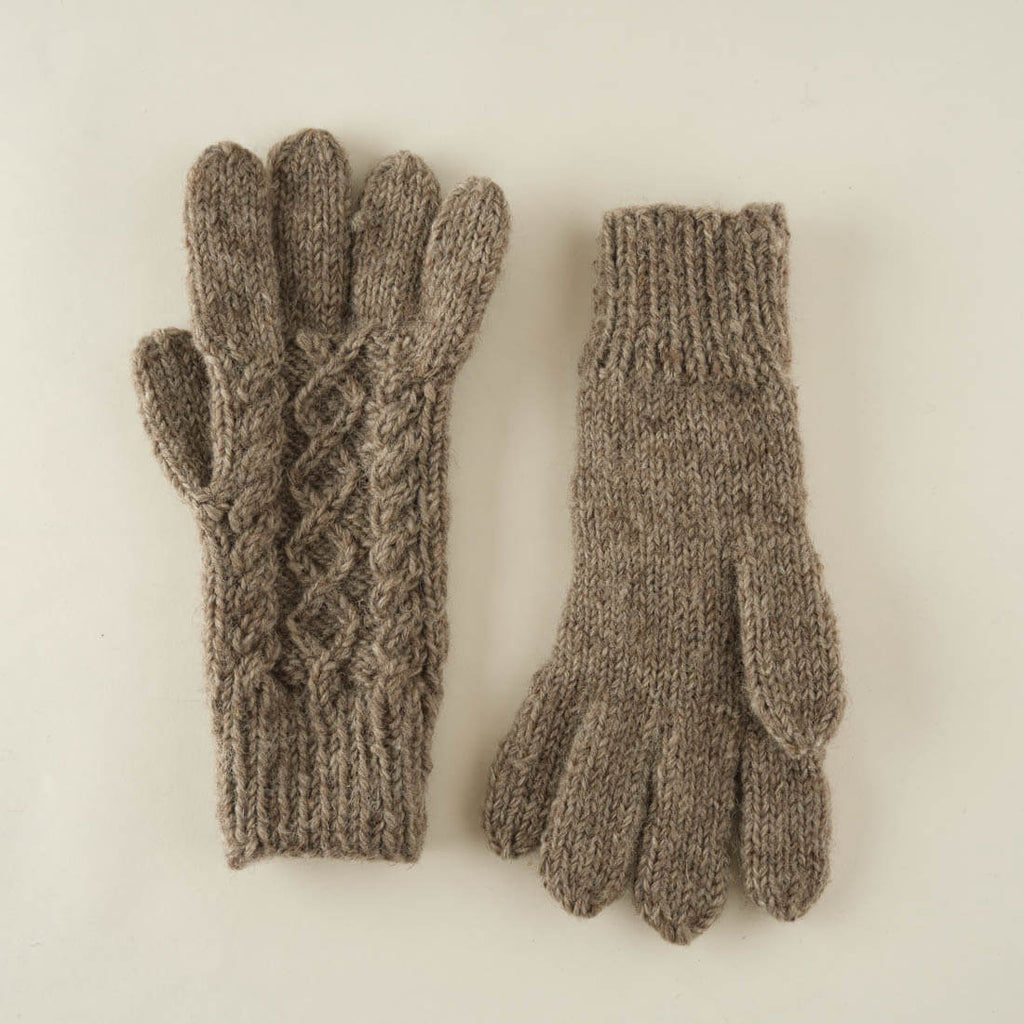 Lotta Knitted Wool Gloves  - Natural colour