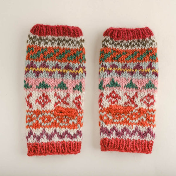 Ulla Fair Isle Finglerless Knitted Mittens