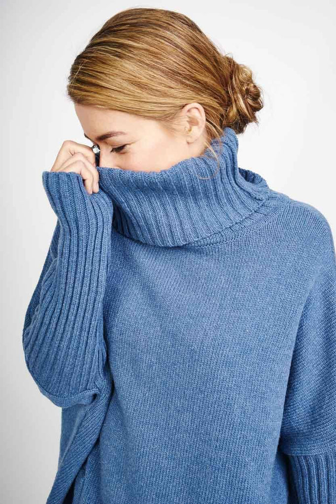 Adela Blue Oversized Jumper - BIBICO