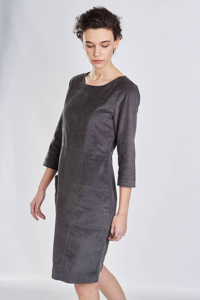 Alexa Grey Cord Dress - BIBICO