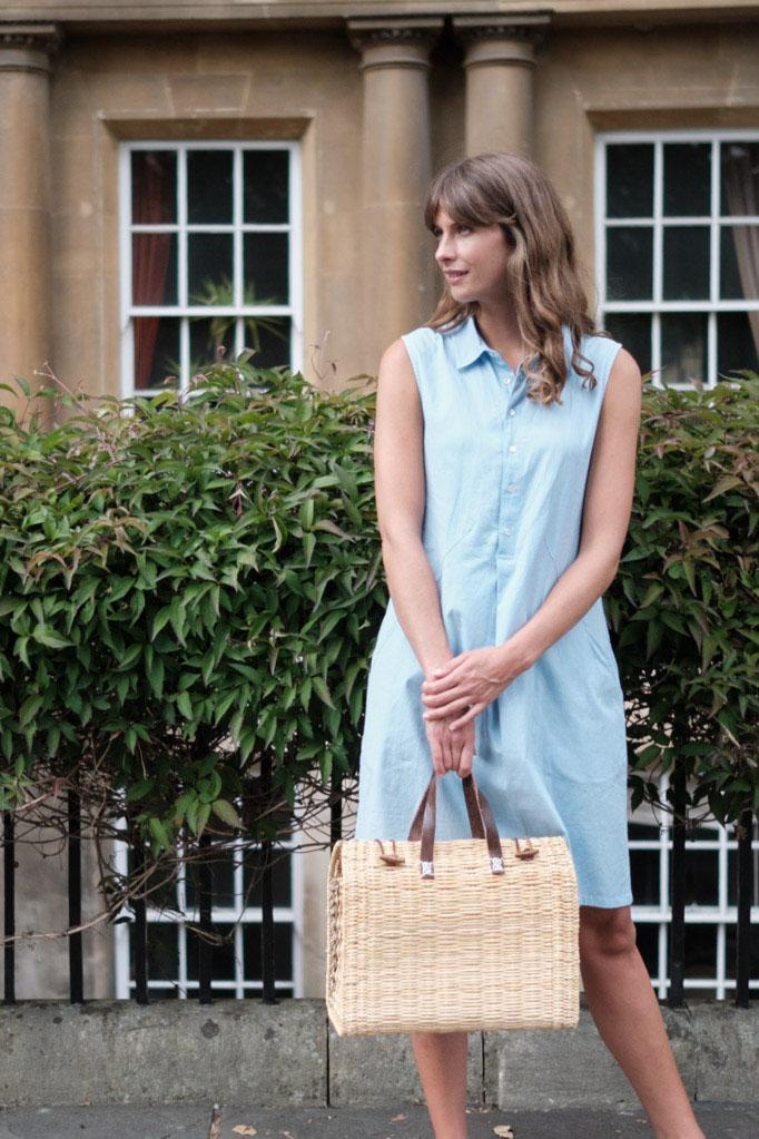 Alina Blue Sleeveless Shirt Dress - BIBICO