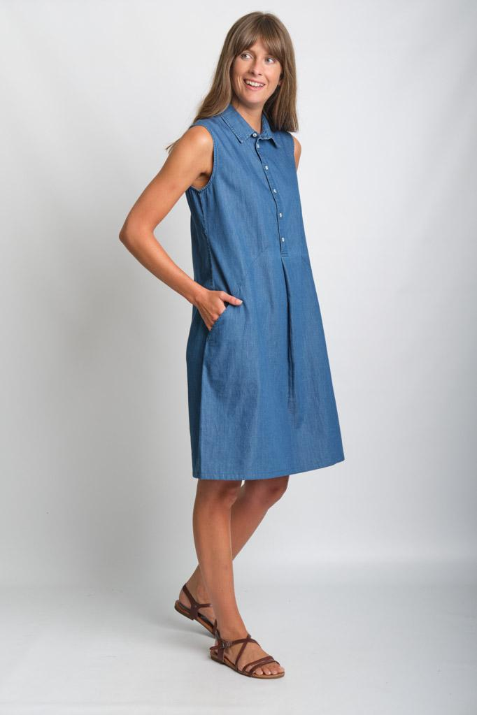 Alina Denim Sleeveless Shirt Dress - BIBICO