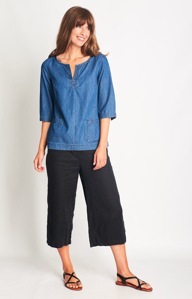 Allana Denim Boxy Top - BIBICO