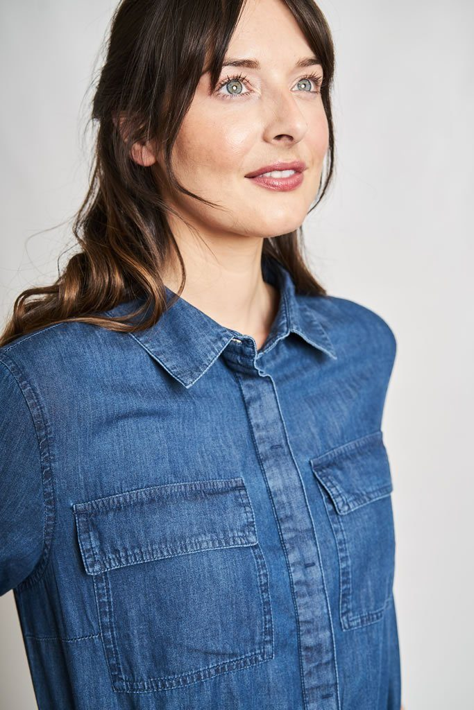 Aurelie Denim Shirt Dress - BIBICO