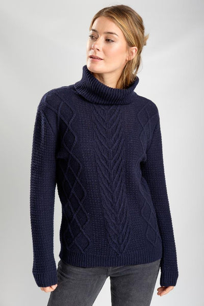 Bailey Turtle Neck Aran Jumper - BIBICO