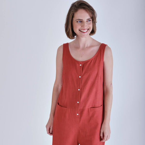 Washed Red Linen Jumpsuit