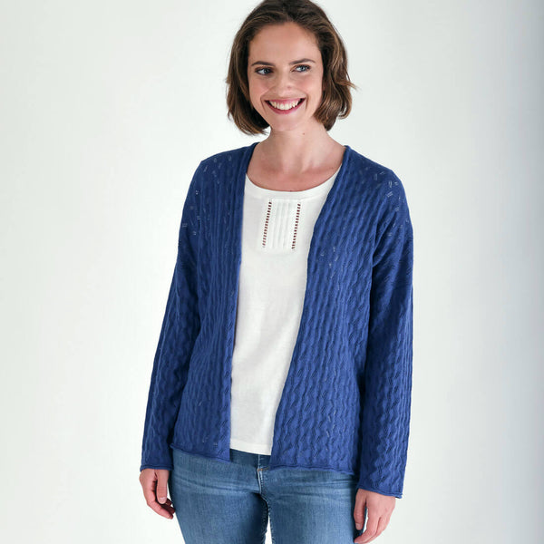 Orla linen open cardigan in cornflower blue