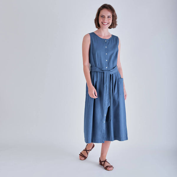 Margot Sleeveless Denim Dress With Pockets