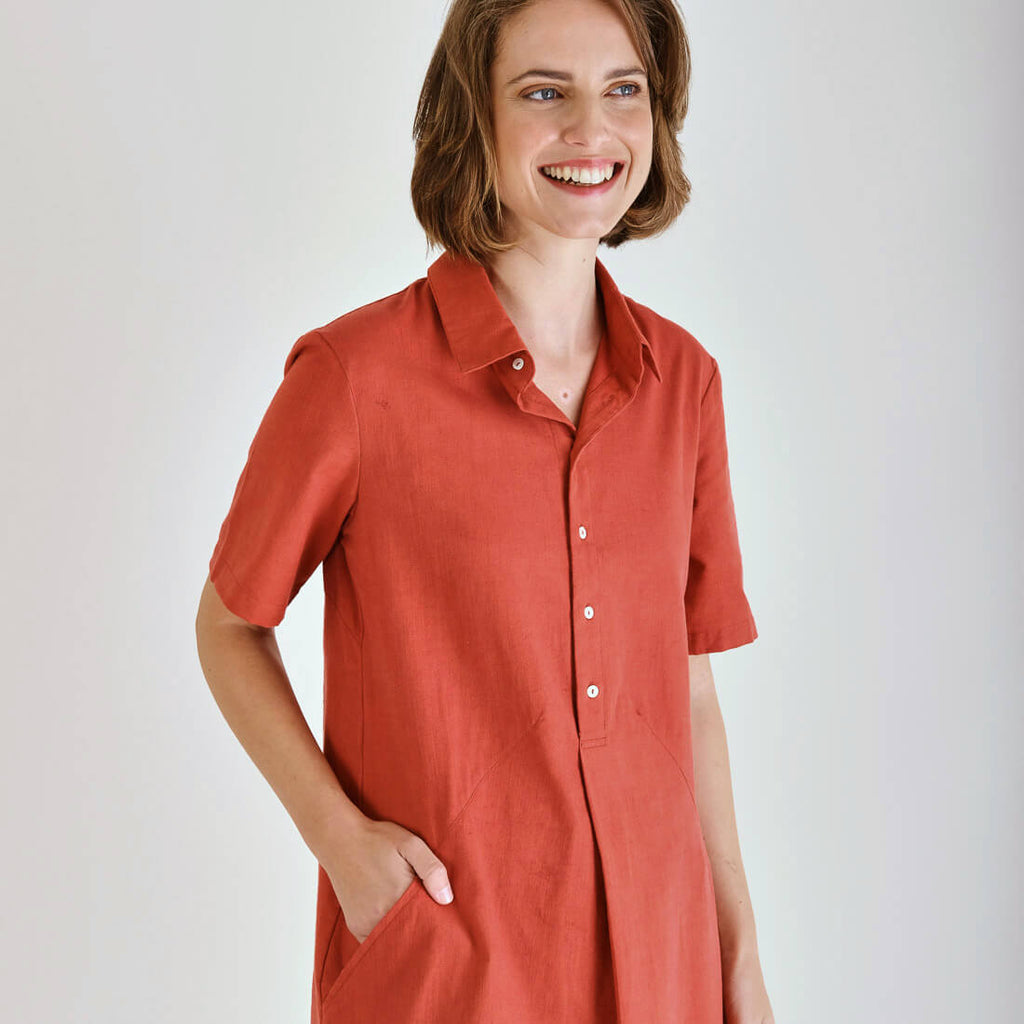 Washed Red Shirt Dress | by BIBICO